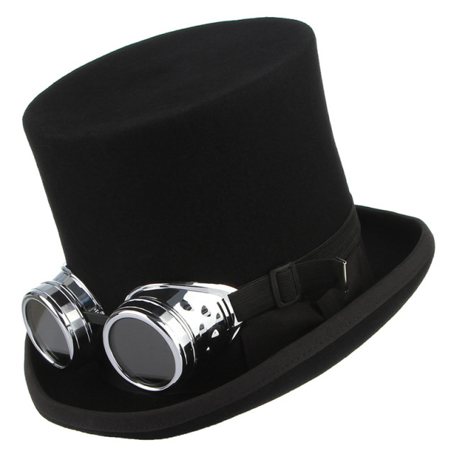 4cf45f81538 Retro Punk Style Top Hat Fedoras Rock Band Hat for Men Women Steampunk Hat  Halloween Cosplay