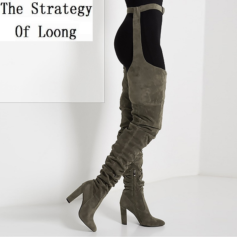 Women Pleated Flock Over The Knee Thigh High Long Boots Lady Fashion Waist Belt Thick High Heels Pointed Toe High Boots 20181113(China)