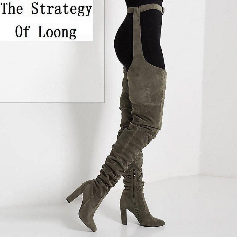 Kobiet plisowana stada na kolana udo wysokie długie buty Lady moda pas biodrowy grube szpilki Pointed Toe wysokie buty 20181113 w Buty za kolano od Buty na  Grupa 1