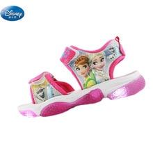 Новые сандалии для девочек с изображением Эльзы и Анны из мультфильма «Холодное сердце», светодиодный светильник, детская мягкая обувь Принцессы Диснея, европейские размеры 20-31