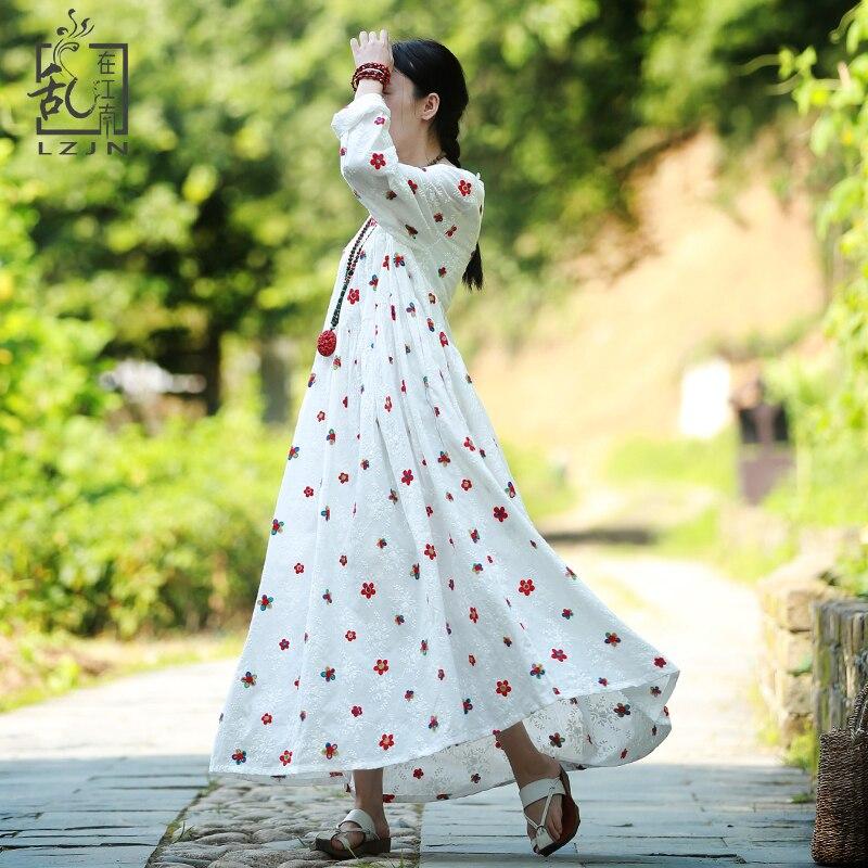 LZJN Sweet Embroidery <font><b>Dress</b></font> 2018 Autumn Women Long <font><b>Dresses</b></font> Mori Girl Maxi <font><b>Dress</b></font> High Waist Robe Long Tunic Cotton Gown 32242
