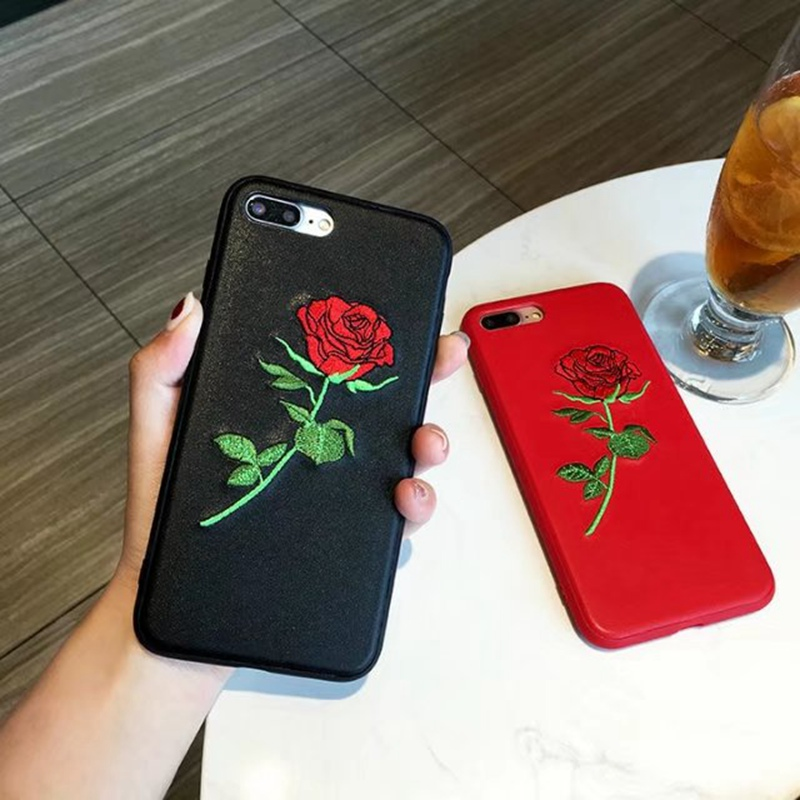 the latest a9ab2 12463 US $4.98 |New Embroidered Case For iphone 7 Rose Flower Red For iphone 7  Plus Case Black Leather Back Mobile Phone Cover-in Half-wrapped Case from  ...