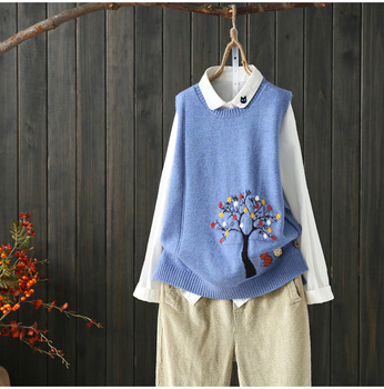 cats under tree kitty  pattern  sleeveless vest pullover sweater  2019 mori girl 6