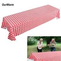OurWarm пластик красная скатерть Disposabele столовая посуда клетчатый покрытие стола для фермы день рождения одноразовые столовые сервизы