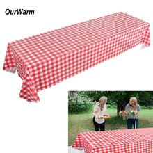 OurWarm Plastic Red Tablecloth Disposabele Dinnerware Checkered Table Cover for Farm Birthday Party Disposable Tableware Sets