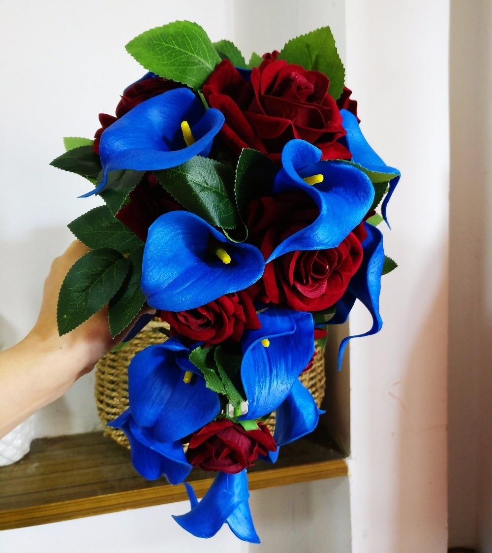 Bridal Bouquet For Wedding Decoration Blue And Burgundy Wedding Bouquet CascadingHandmade Artificial Flower Rose Buque Casamento