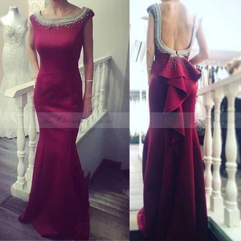 c5a2cc5d7b Vino Rojo Backless de La Sirena Vestido de Noche Vestidos de Baile 2017 Con  Cuentas de Perlas de Las Mujeres Largas Formal Drapeado Satén de Las  Colmenas ...
