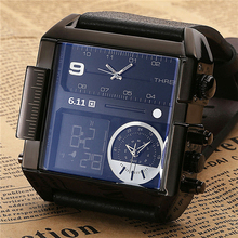 6.11 Square Men Watch  Multiple Time Zone Quartz Watches Mens Leather Led Wristwatch Waterproof Relogio Masculino