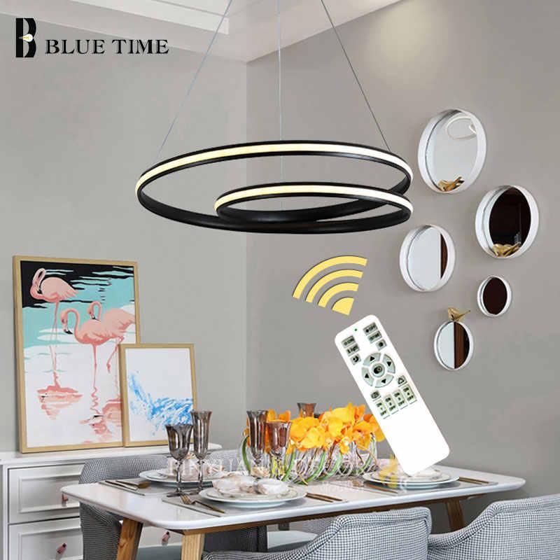 Подвесная лампа современная светодиодная люстра фойе гостиная столовая люстры для спальни белая и черная Люстра потолочная лампа светильники