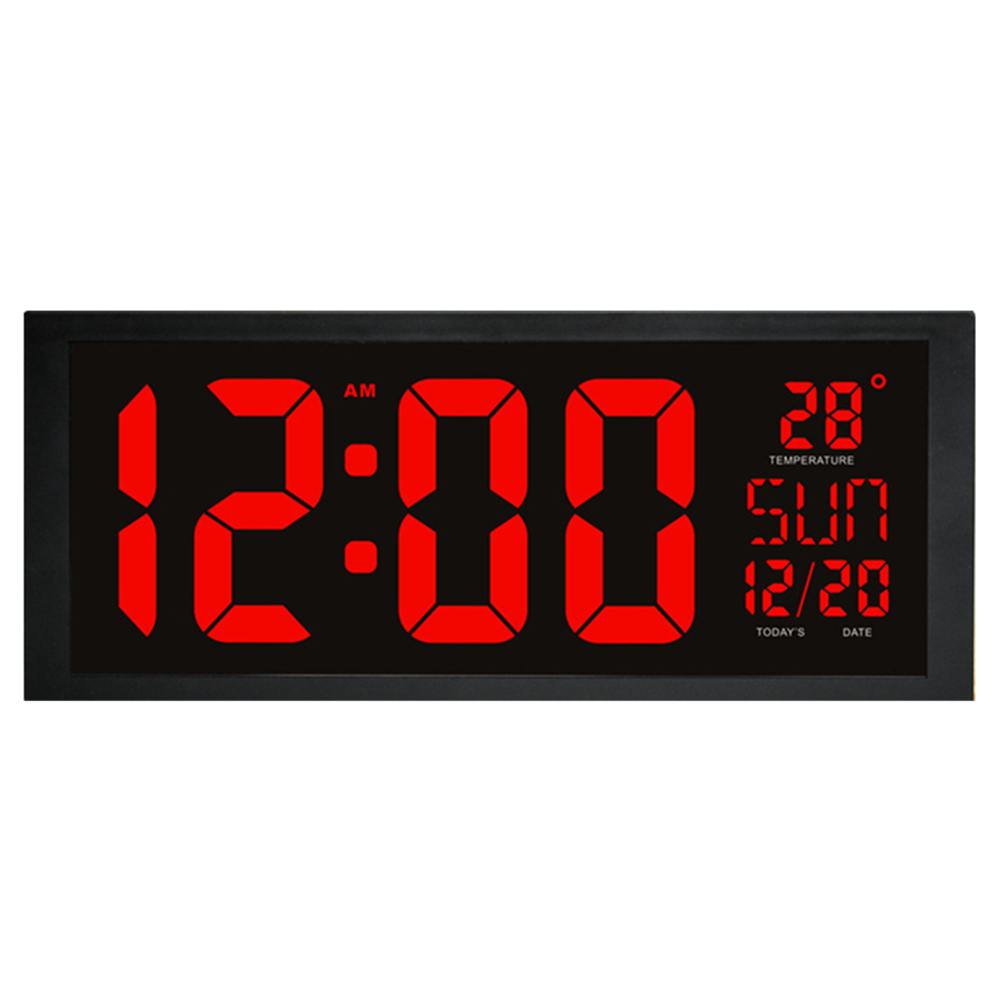 Electronic Led Wall Clock With Thermometer Large Screen Digital Clock Memory Function Clock