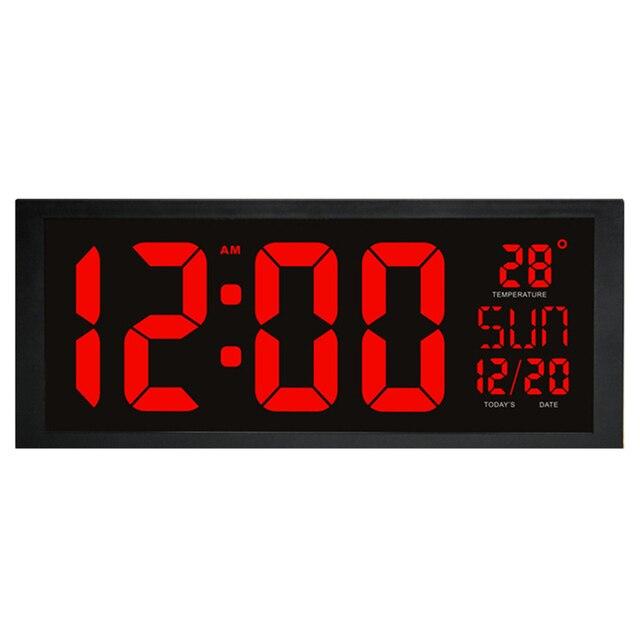 LED Elektronik Jam Dinding dengan Thermometer Layar Besar Jam Digital  Fungsi Memori Clock Living Room Dekorasi 1edb33dd95