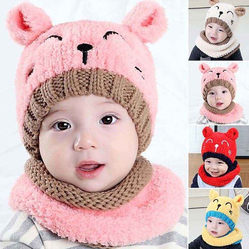 471b3e57108 2018 lovely kid winter warm knitted bear Beanies New Toddler Kids Girl Boy Baby  Infant Crochet Knit