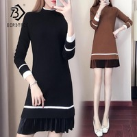 2018 Winter New Arrival Plus Size 5XL Straight Sweater Dress Casual Full Draped Knee Length Solid O Neck Elegant Fashion D88405N