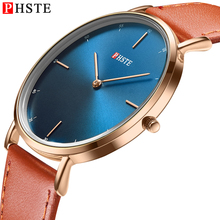цена на PHSTE Men Quartz Watch Ultra Thin Simple Japan Movt 3ATM Waterproof Slim Clock Calfskin Leather Band Luxury Man Wrist Watch Male