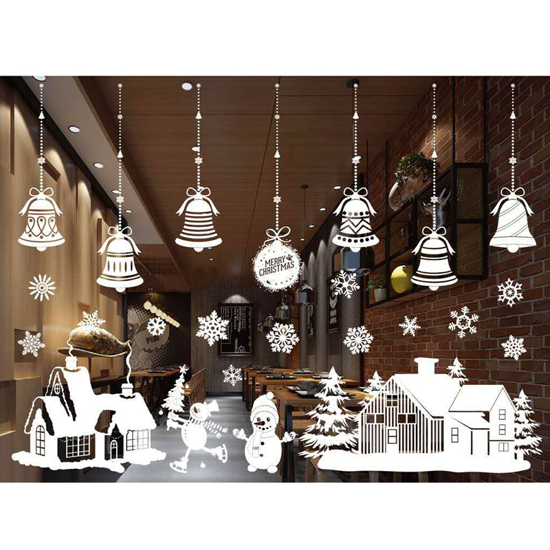 Christmas Tree Snowman Christmas New Year Shop Window Wall Sticker Christmas Decorations ...