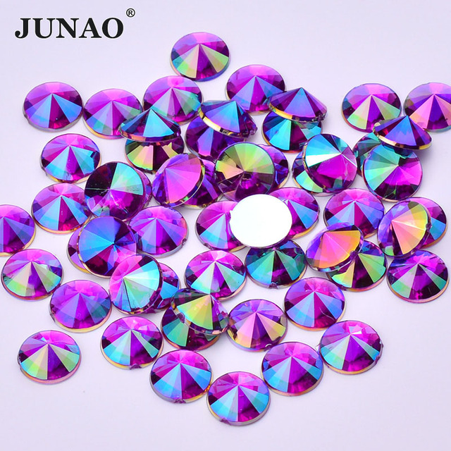 JUNAO 4 5 6 10 mm Glitter Purple AB Face Rhinestones Flat Back Acrylic Stones Rivoli Crystal Applique Nail Art Decoration 1