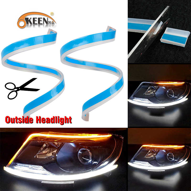 OKEEN 60cm Flexible LED DRL For Headlight Strip daytime running light with yellow Sequential turn signal lamp 12V