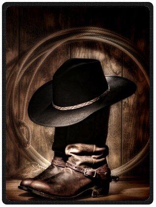 Blanket American West Rodeo Cowboy Black Felt Hat Atop Worn Western Boots Vintage Style Design Throw Blanket Fleece