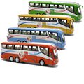 1/55 Sacle Diecast Model, Metal Shuttle Bus, 25Cm Length Boys Gift Alloy Toys With Openable Doors/Music/Light/Pull Back Function