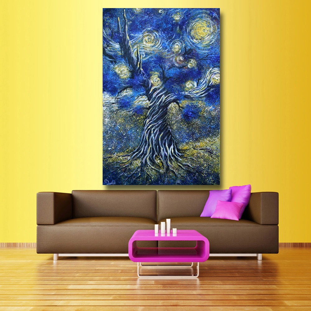 HDARTISAN Seed a Tribute Starry Night print wall art decoration oil ...