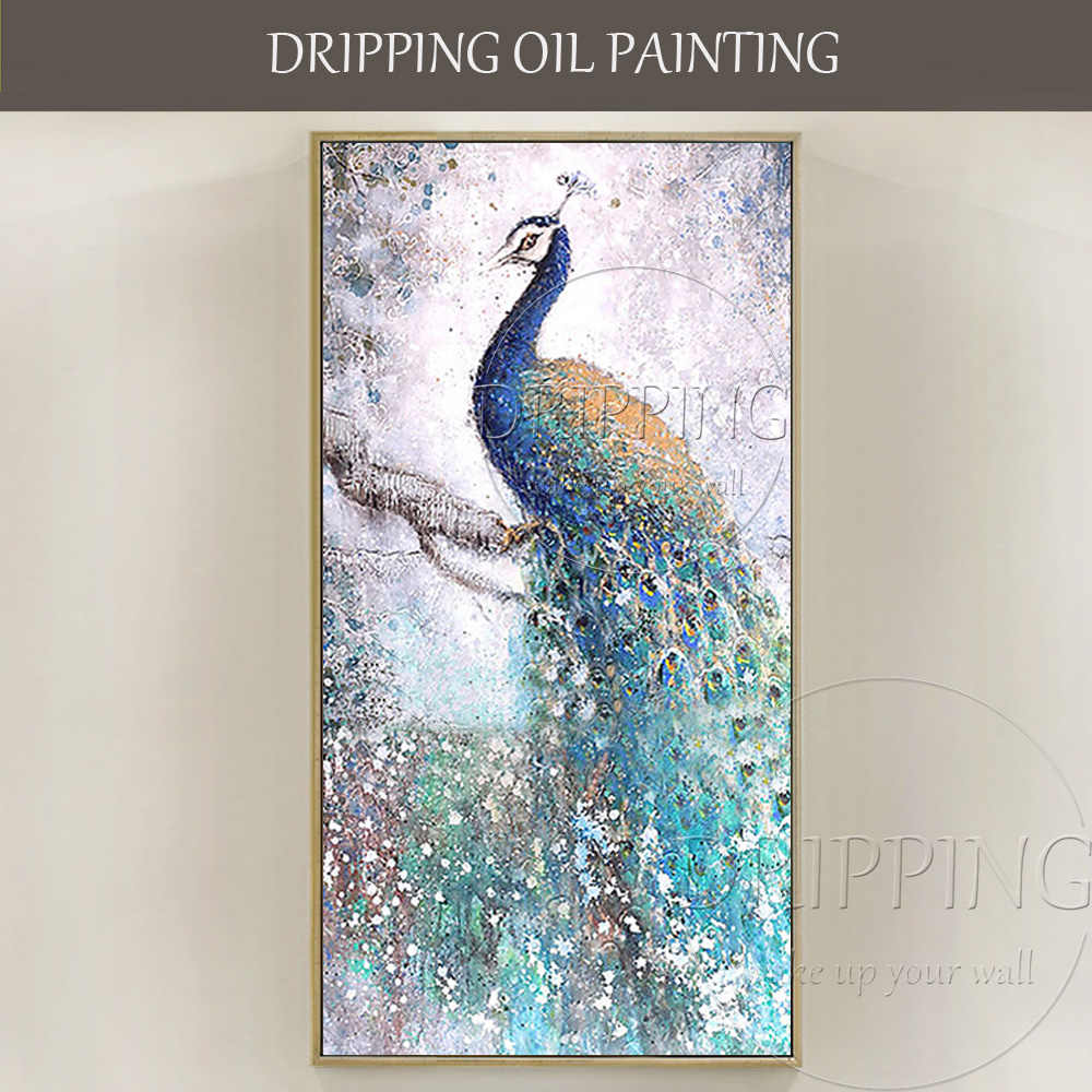 Free Shipping Hand-painted High Quality Large Canvas Peacock Oil Painting on Canvas Beautiful Peacock Painting for Living Room