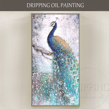 Free Shipping Hand-painted High Quality Large Canvas Peacock Oil Painting on Beautiful for Living Room