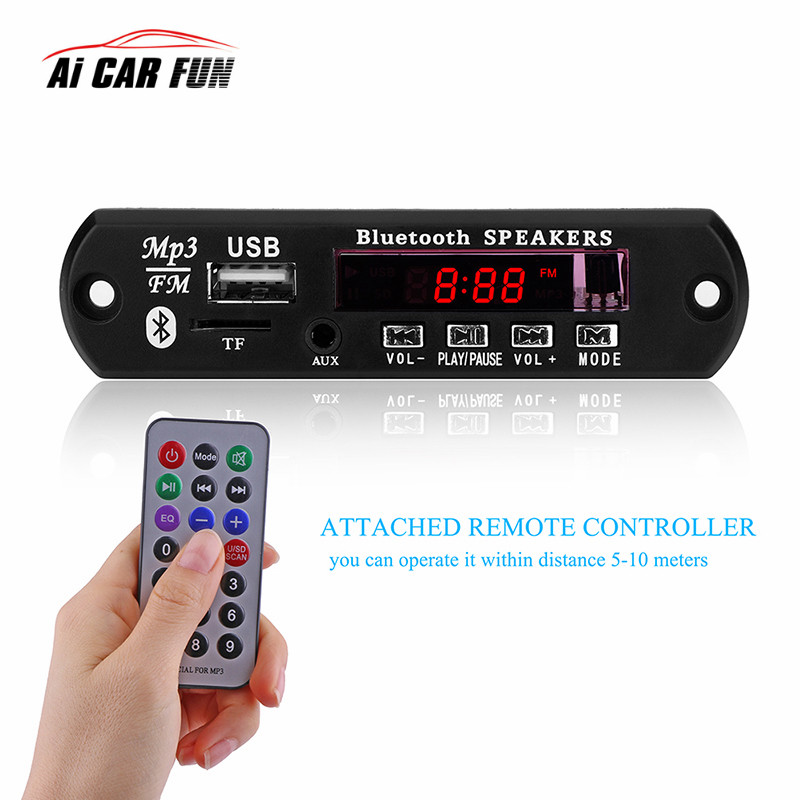 Hands Free LCD Screen 12V Car Bluetooth 3.0 MP3 Player KIT WMA WAV Decoder Micro USB Remote Control Support U disk playback