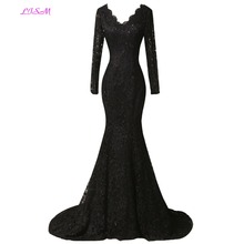 Real Photos Black Lace Evening Dresses V-Neck Long Sleeves Prom Party Gowns Appliques Beaded Formal Robe de soiree