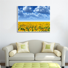 Laeacco Canvas Calligraphy Painting  Floral Sunflowers Wall Artwork Garden Posters and Prints Living Room Home Decoration