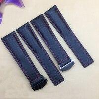 Ersatz leder band 19mm 20mm 22mm qualität carbon faser muster uhr strap mit klapp schnalle-in Uhrenbänder aus Uhren bei