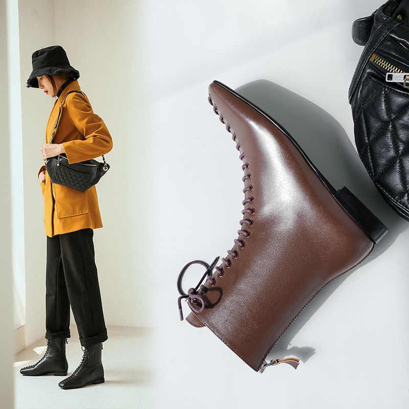 INS nóng Nữ mắt cá chân Giày Da Thật Chính Hãng Da 22-24.5 cm Châu Âu và Châu Mỹ Xe Máy mùa xuân và mùa thu Giày thời trang