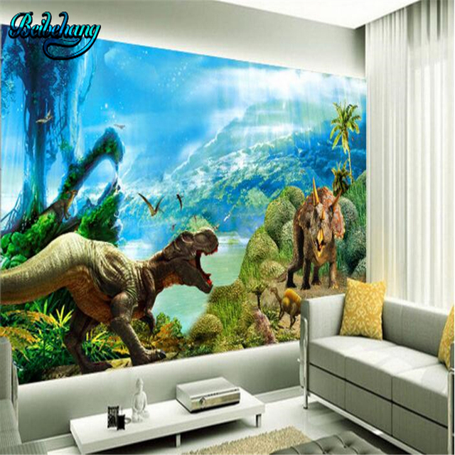 Beibehang Custom Wallpaper Mural 3D Jurassic Dinosaur Dream Background Wall Lounge Sofa Decorative Painting