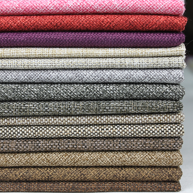 Sofa Fabric Material Linen Woven Knit Fabric Price Per Meter Grid