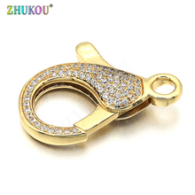 21*31mm Brass Cubic Zirconia Lobster Clasps Hooks DIY Jewelry Findings Accessories, Mixed Color, Hole: 4mm, Model: VK56