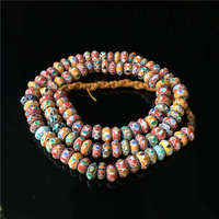 TSB0003 Nepal Handmade Acient Glass Colorful Rainbow Disk Beads Strand 10x5mm Tibet Colorful Glass Beaded Necklace