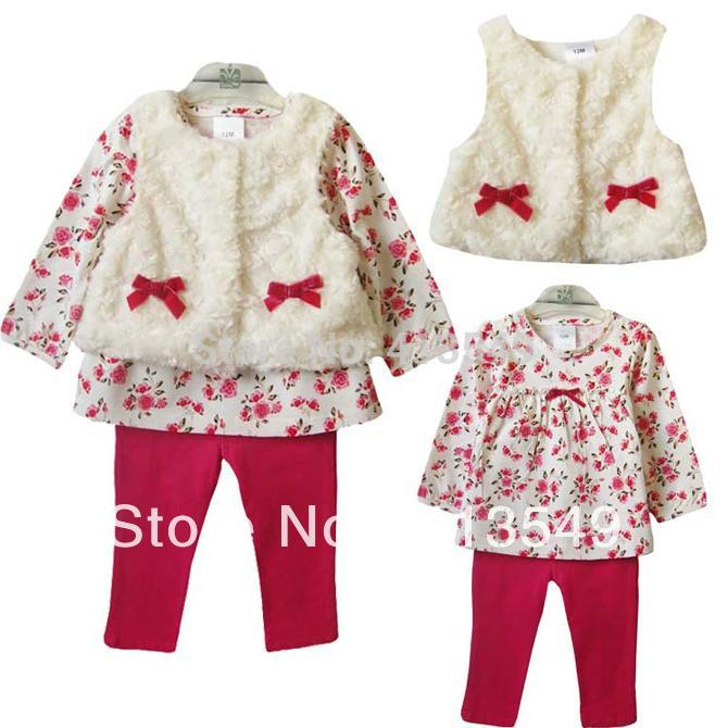Baby Pants Suits T-Shirt Girls-Sets Kids New-Fashion Bow Vest Fur 3pcs Flower Love-Dd--Mm