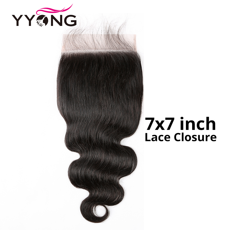 Yyong Hair 7x7 Lace Closure Remy Brazilian Body Wave Closure 8-20 Inch Free Part 100% Human Hair Swiss Lace Closure(China)