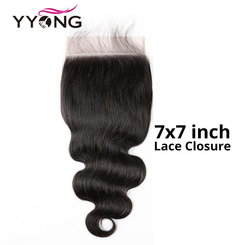 Yyong cabelo 7x7 fechamento do laço remy brasileiro fechamento da onda do corpo 10-24 Polegada parte livre 100% cabelo humano fechamento do laço suíço