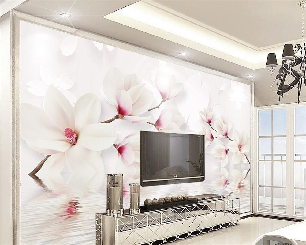 Beibehang custom wall murals wallpaper white magnolia for Custom wall mural
