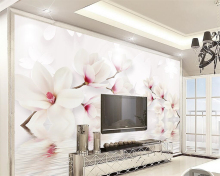 wallpapers Custom wall murals wallpaper white magnolia flower, 3D photo wallpaper mural bedroom living room TV wall 3D wallpaper цена 2017