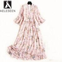 AELESEEN Summer Fashion Runway Dress 2019 Women's Flare Half Sleeve Luxury Floral Pleated Mid Calf Elegant Print Chiffon Dress