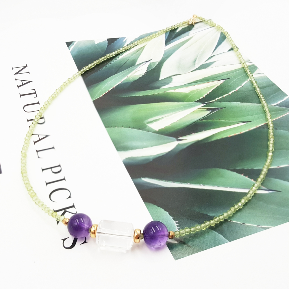 Lii Ji Peridot Amethyst Transparent Crystal Necklace Natural Gemstone 925 Sterling Silver Gold Plated Sparkling Handmade Jewelry