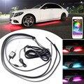 4 stücke APP Steuer RGB Auto Flexible Led-streifen Dekorative Atmosphäre Lampe Unter Rohr Underglow Unterboden-system Neon Licht Kit