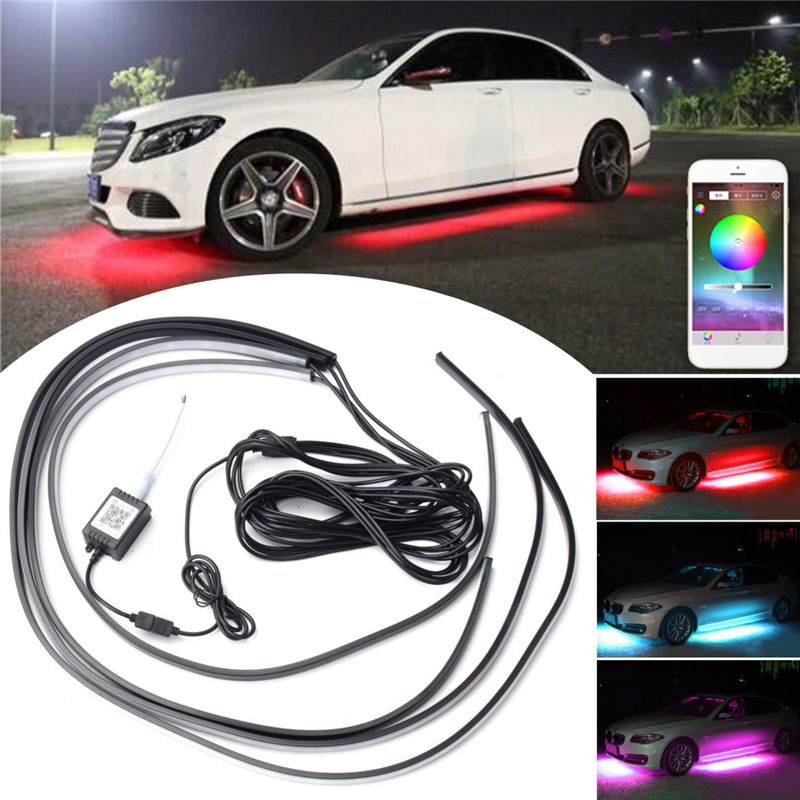 4pcs APP Control RGB Car Flexible LED Strip Decorative Atmosphere Lamp Under Tube Underglow Underbody System Neon Light Kit car styling 7 color led strip under car tube underglow underbody system neon lights kit ma8 levert dropship