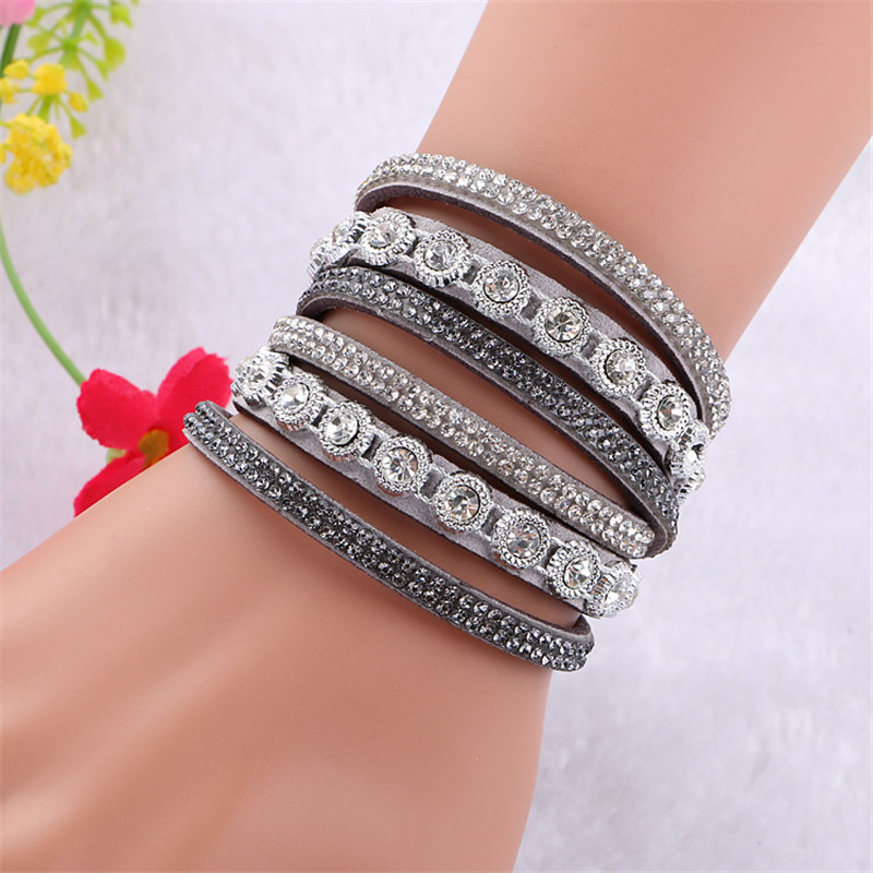DIEZI Pulseira Feminina Bracelets & bangles Women Multilayer Rhinestone Leather Bracelet Crystal Braclet 2016 Fashion Jewelry ...