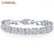 CARSINEL New Trendy Unique Jewelry Silver color Leaves Shape CZ Female Bracelets