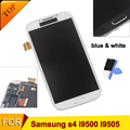 Lcd i9500 para samsung galaxy s4 i9500 i9505 display lcd + touch screen digitador de vidro + moldura quadro assembléia azul/branco