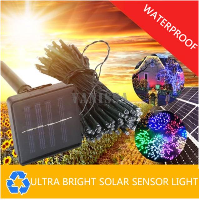 100LED 12 M cadena de luces Solares llevó la iluminación del paisaje al aire libre luces de jardín al aire libre impermeable luces de césped casa jardín
