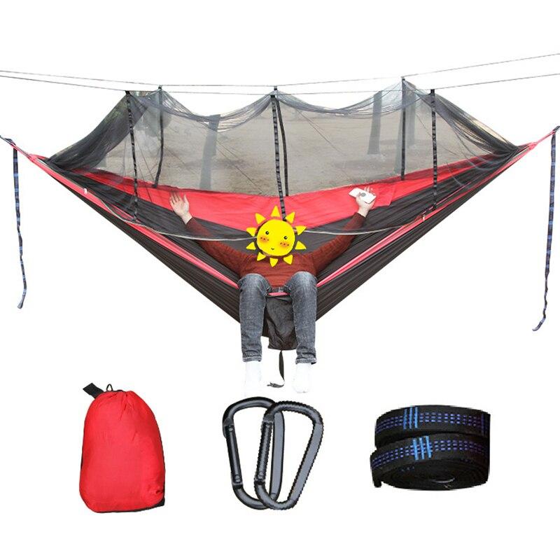 2-3 personne Extérieure Moustiquaire Parachute Hamac Camping Suspendus de Couchage Lit Balançoire Portative Double Chaise Hamac de remorquage taille
