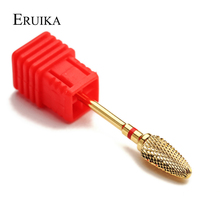 ERUIKA 1pc Gold Carbide Nail Salon Drills Bits Electric Manicure Machine Milling Cutter Rotary Burr Nail Clean Accessory